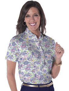 Petite Short Sleeve Print Polo</br>WanderluSt 07L