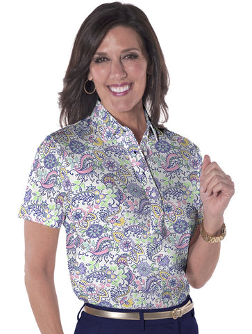Petite Short Sleeve Print Polo Cool Breeze 07L - Leonlevin