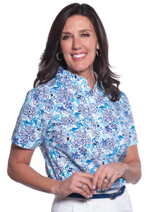 Ladies Short Sleeve Print Polo Shirts Flower Fling 08G - Leonlevin