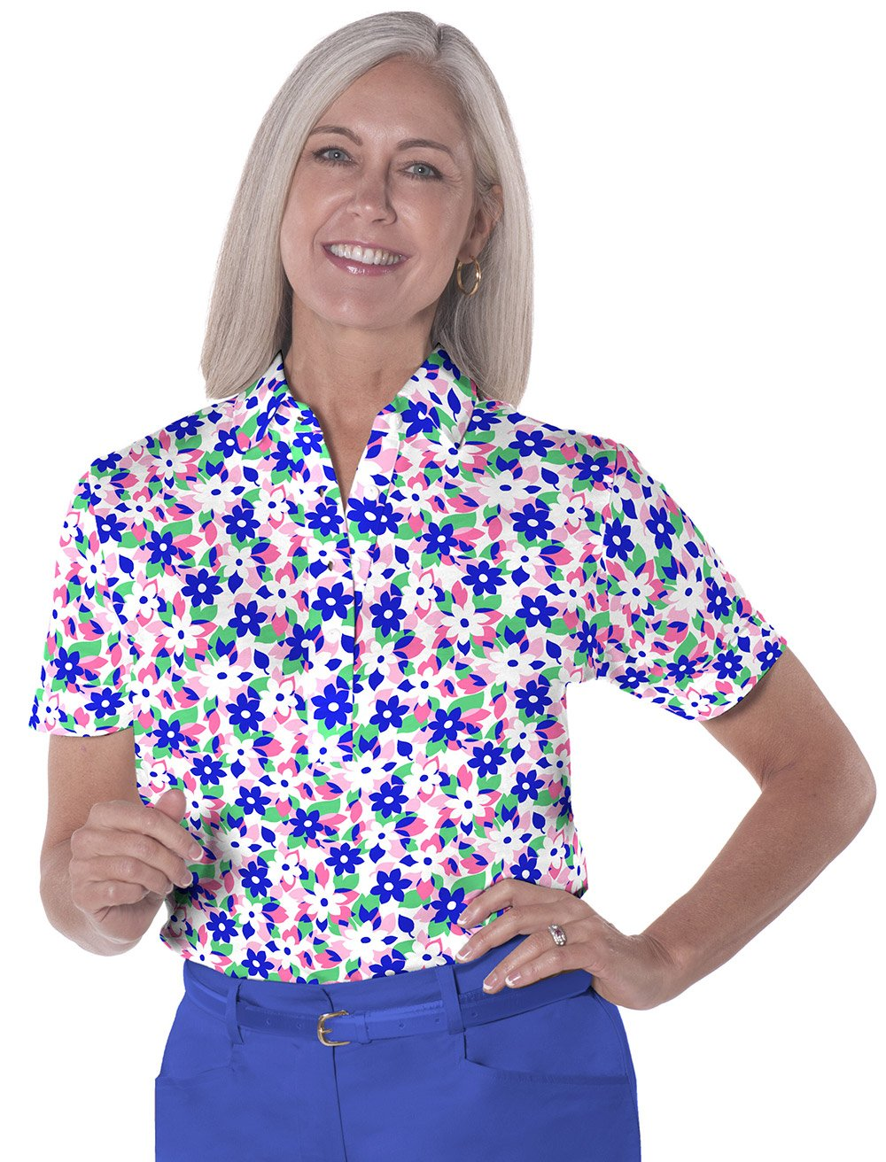 Petite Short Sleeve Print Polo</br>Hidden Treasure 09A