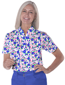 Petite Short Sleeve Print Polo</br>Hidden Treasure 09A - Leonlevin