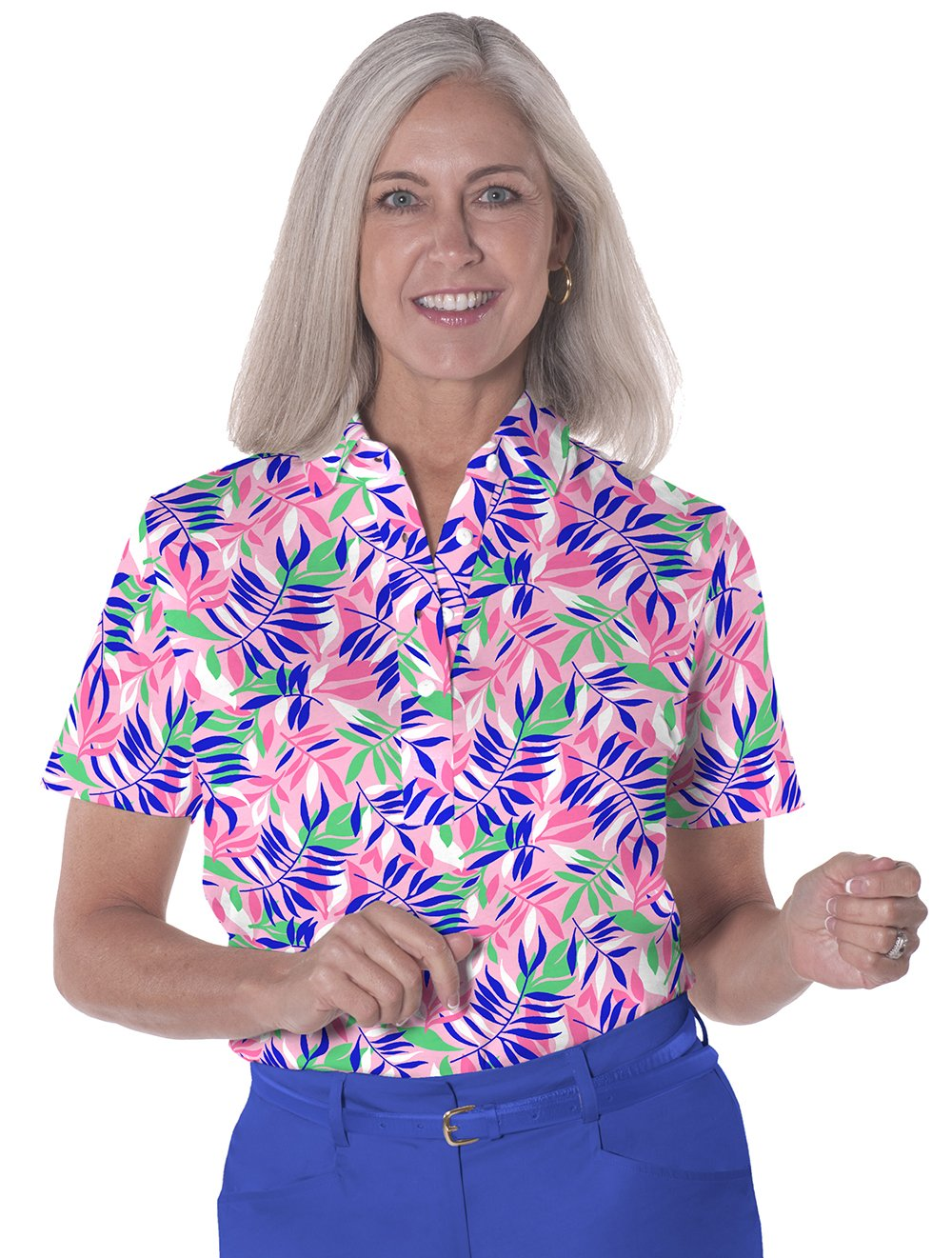 Petite Short Sleeve Print Polo</br>Palm Reader 09C