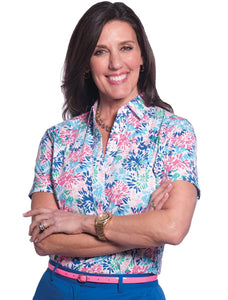 Petite Short Sleeve Print Polo</br>SpliSh SplaSh 09E - Leonlevin