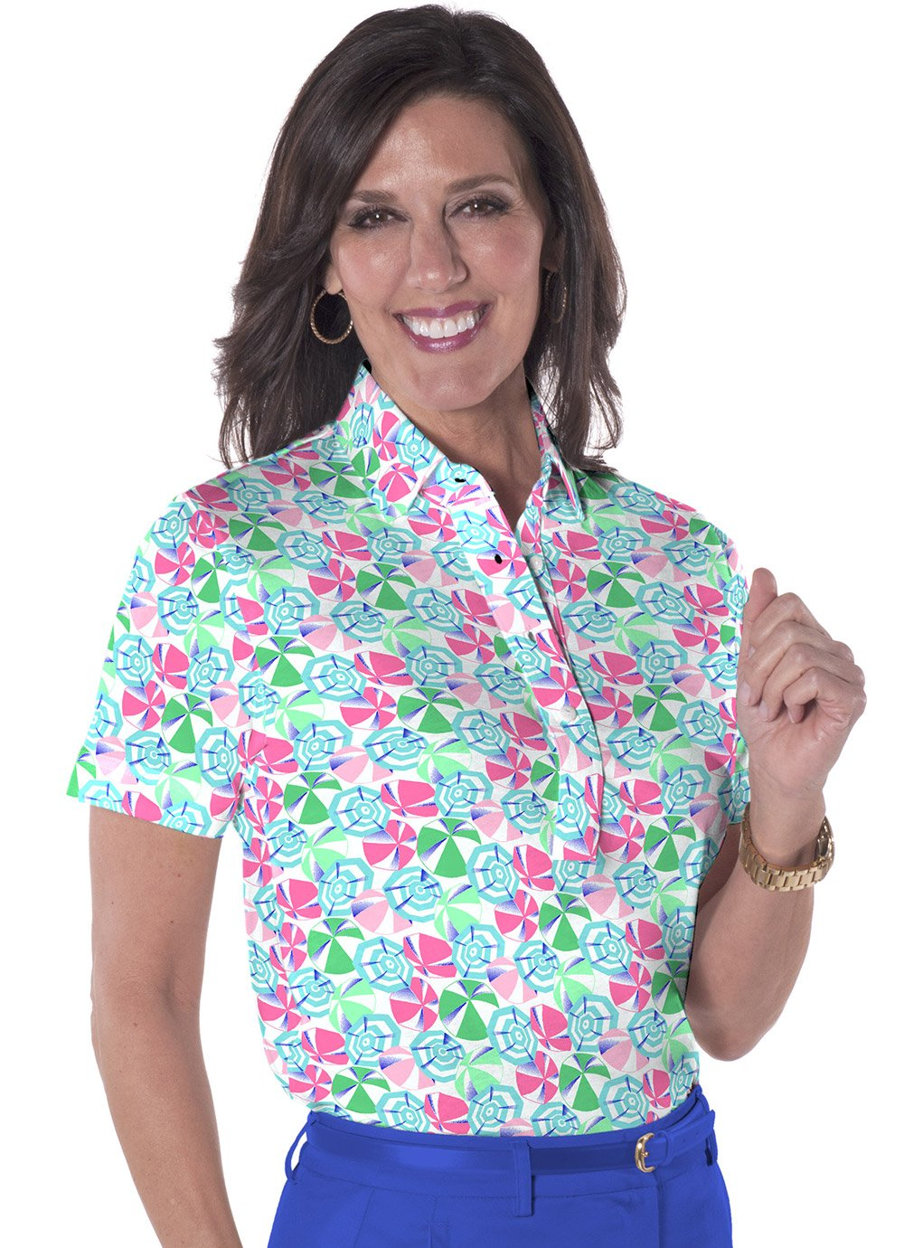 Petite Short Sleeve Print Polo</br>Permanent Vacation 09N