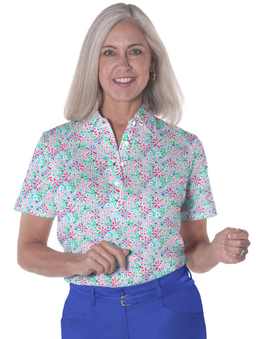 Short Sleeve Print Polo</br>Sweet Serenade 09i - Leonlevin