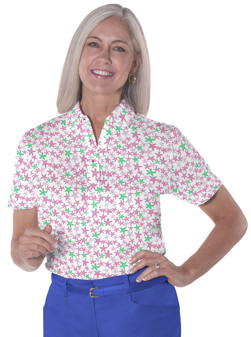 Petite Short Sleeve Print Polo</br>In the Stars 09o - Leonlevin