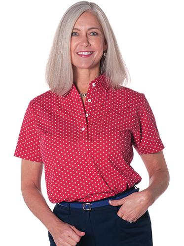 Ladies Short Sleeve Print Polo Shirts Dot to Dot 10A