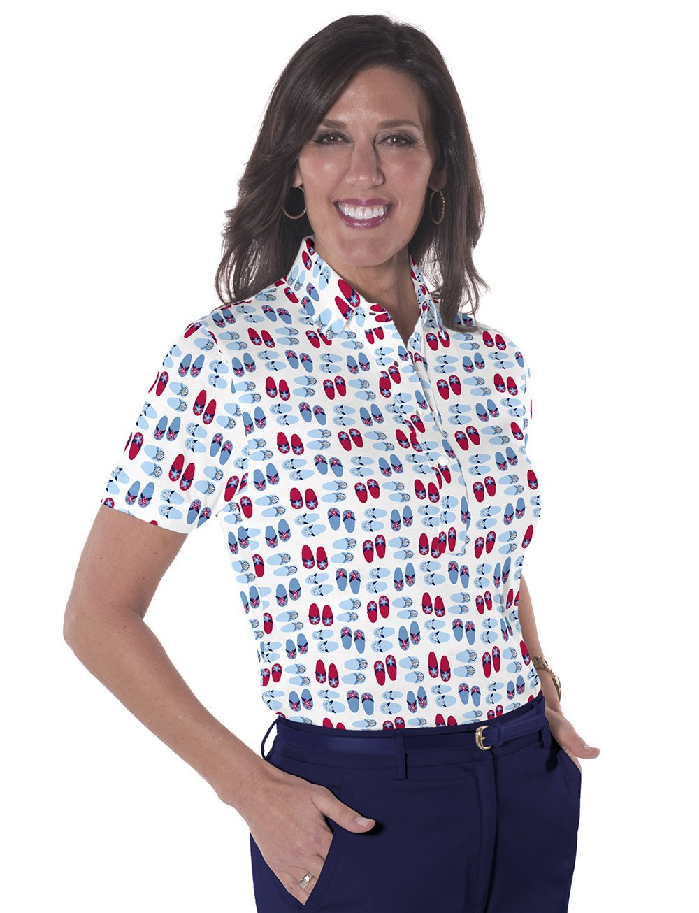 Petite Short Sleeve Print Polo</br>Flip Out 10K