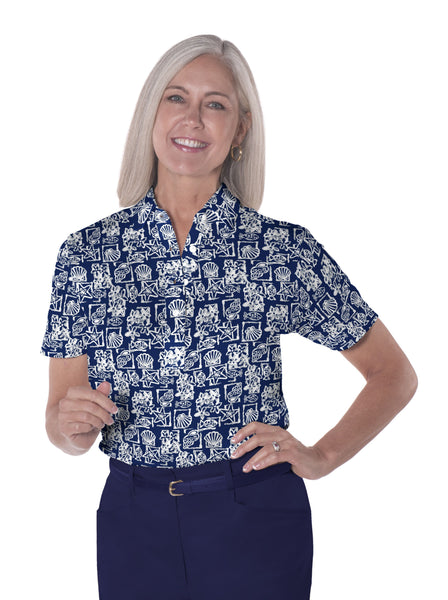 Petite Short Sleeve Print Polo</br>Shell Game 10N