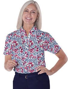 Ladies Short Sleeve Print Polo Shirts</br>Jungle Flower 10Q