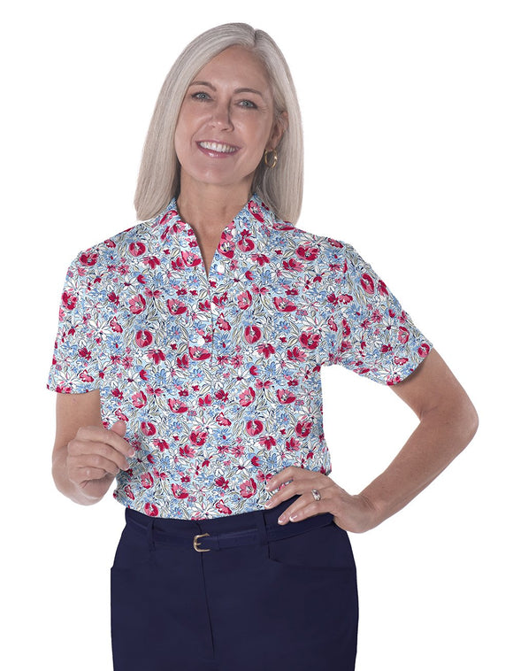 Ladies Short Sleeve Print Polo Shirts</br>Fancy This 10R