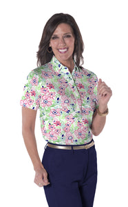Short Sleeve Print Polo</br>Floral Float 10W