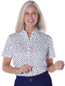 Long Sleeve Print Polo</br>Ring Around 10i - Leonlevin