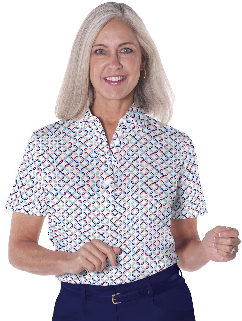 Petite Short Sleeve Print Polo</br>Ring Around 10i