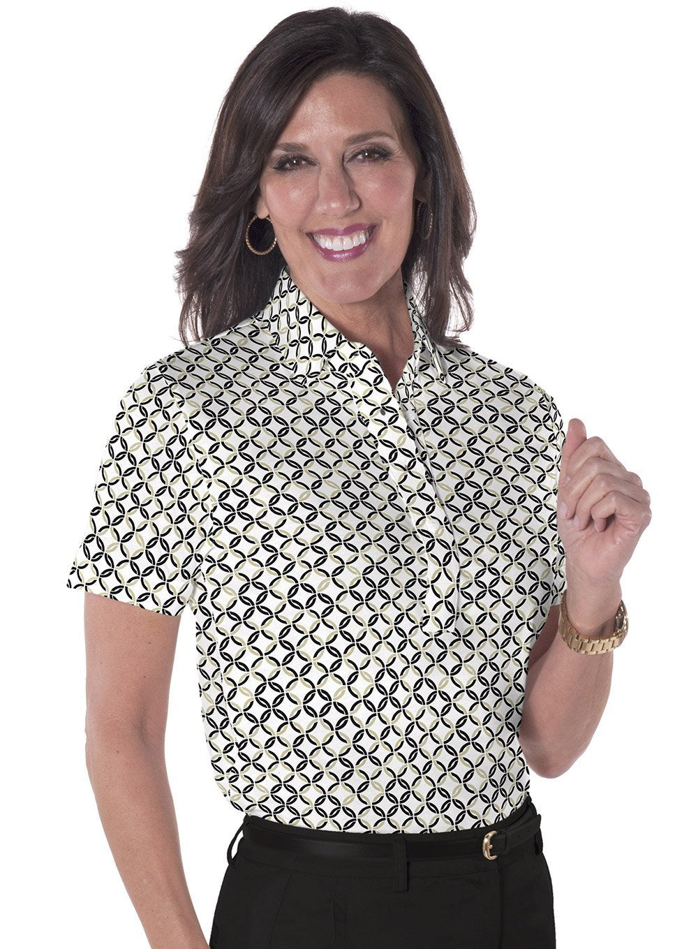 Petite Short Sleeve Print Polo</br>Ring Around 11G