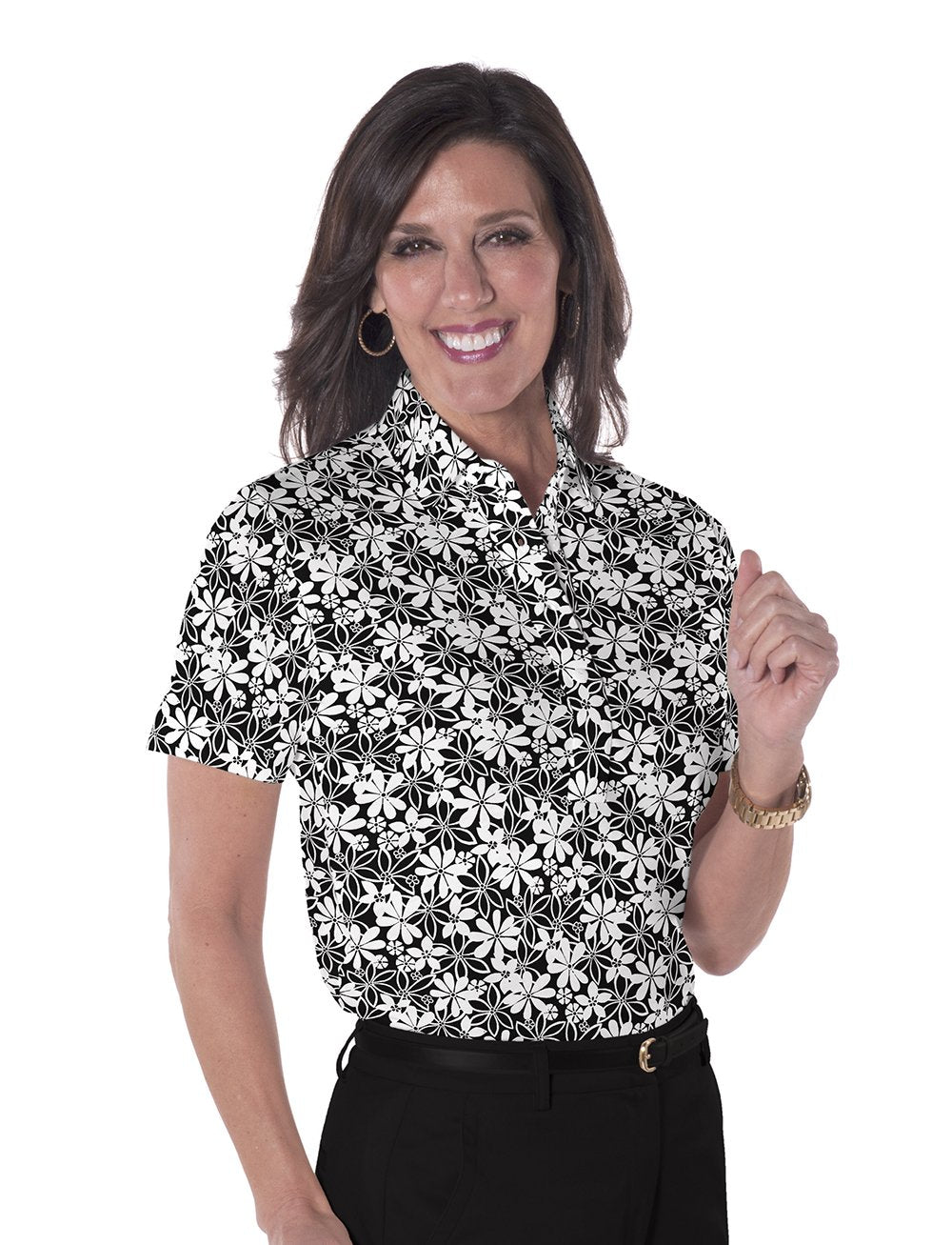 Petite Short Sleeve Print Polo</br>Sweet Serenade 11L
