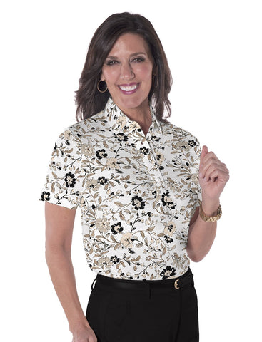 Ladies Short Sleeve Print Polo Shirts <br> Easy Breezy 11S - Leonlevin