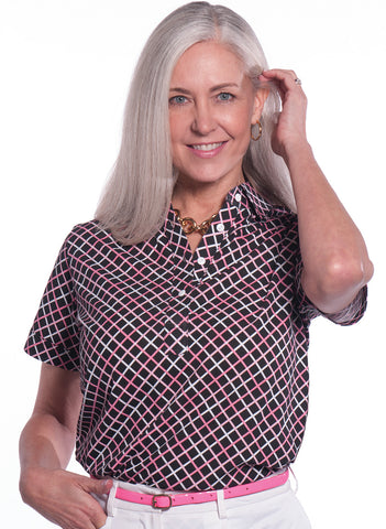 Petite Short Sleeve Print Polo</br>Intersection 12A