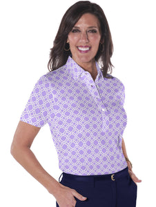 Short Sleeve Print Polo</br>Tiled and True 14C