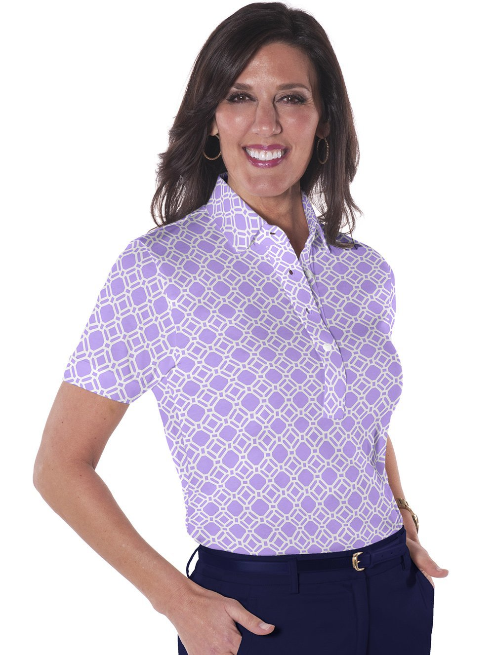 Petite Short Sleeve Print Polo</br>Tiled and True 14C