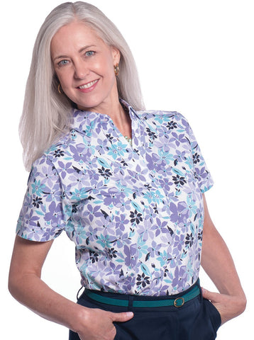 Petite Short Sleeve Print Polo</br>Magic Garden 14E - Leonlevin