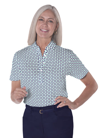 Petite Short Sleeve Print Polo Shirts</br>Dot Matrix 15B