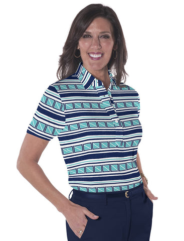 Petite Short Sleeve Print Polo Shirts</br>All Ashore! 15C