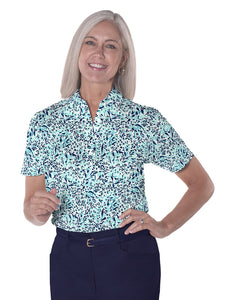 Ladies Short Sleeve Print Polo Shirts</br>Jungle Flower 15E - Leonlevin