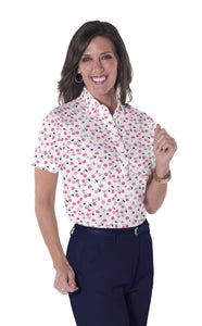 Ladies Short Sleeve Print Polo Shirts | Cherry Jubilee 16B - Leonlevin