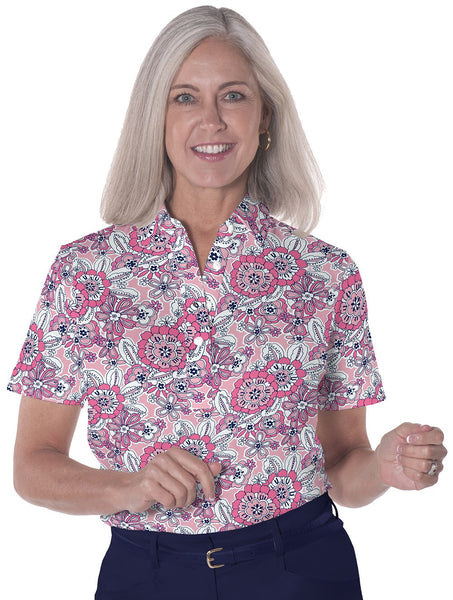 Petite Short Sleeve Print Polo Shirts</br>Toss Up 16F - Leonlevin