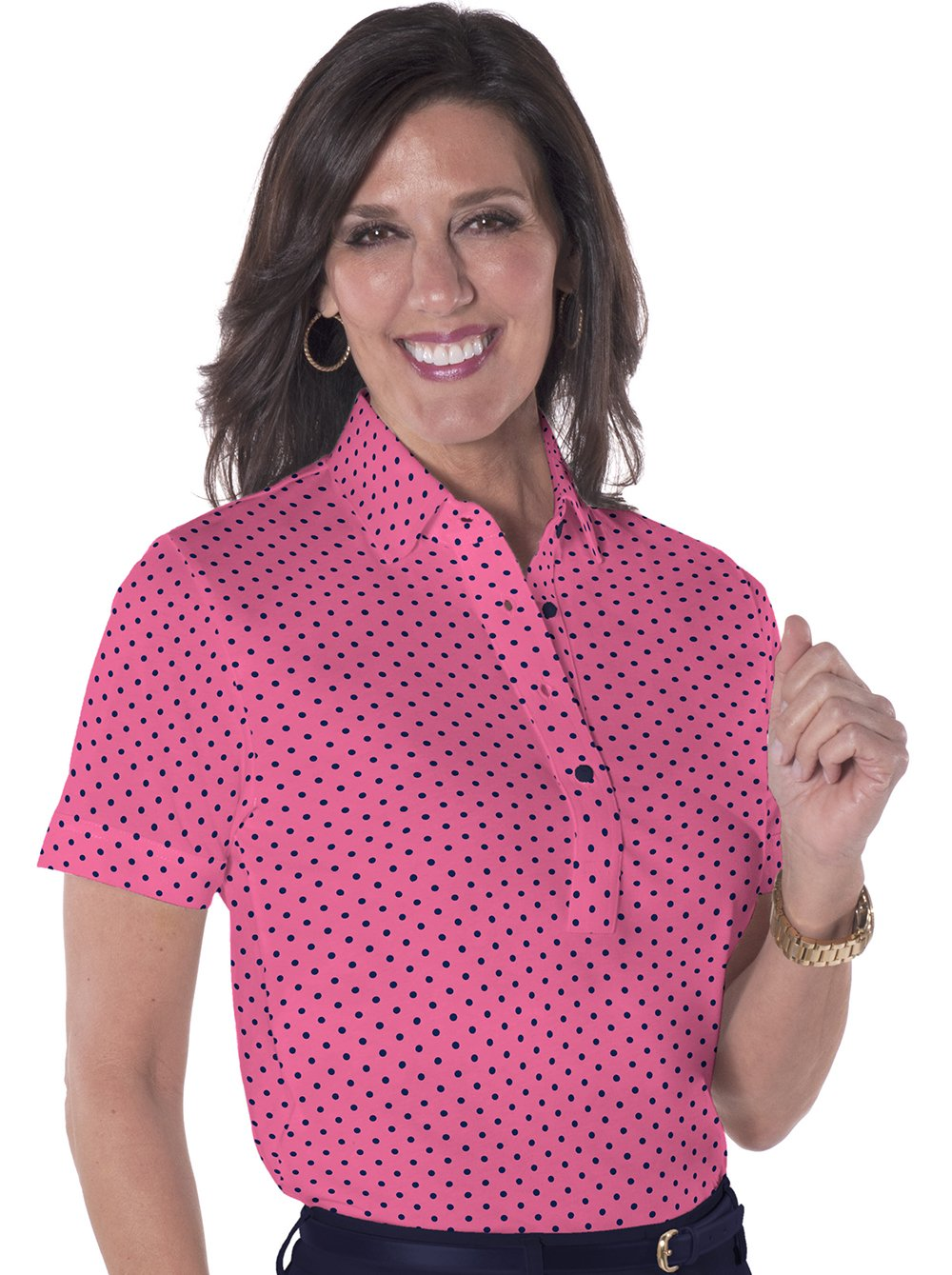 Ladies Short Sleeve Print Polo Shirts</br>Dot'cha! 16G - Leonlevin