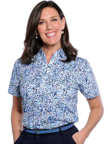Short Sleeve Print Polo</br>Jungle Flower 19B - Leonlevin