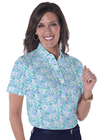Short Sleeve Print Polo</br>Sweet Serenade 19E - Leonlevin