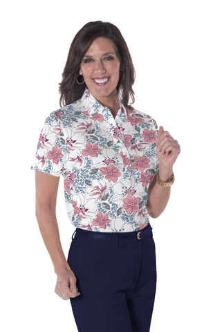Ladies Short Sleeve Print Polo Shirts <br> Force of Nature 21B