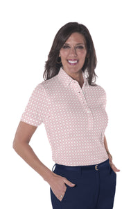 Ladies Short Sleeve Print Polo Shirts <br> Virtuoso 21D - Leonlevin