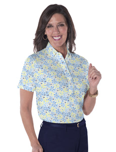 Petite Short Sleeve Print Polo Shirts | Chatham Breeze 22D - Leonlevin