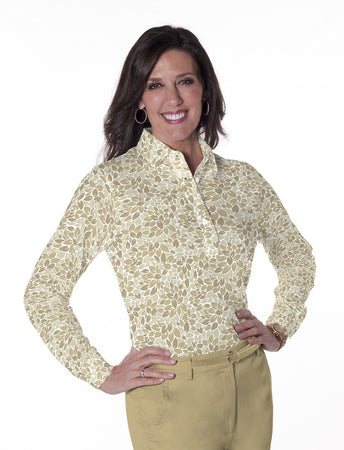 Ladies Long Sleeve Print Polo Shirts <br> Leaf It 01A