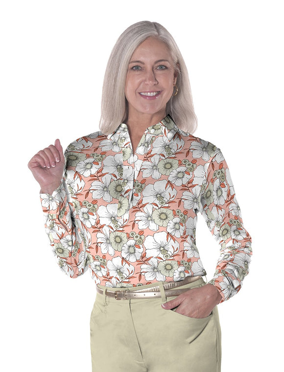 Ladies Long Sleeve Print Polo Shirts <br> Stand Out 01J