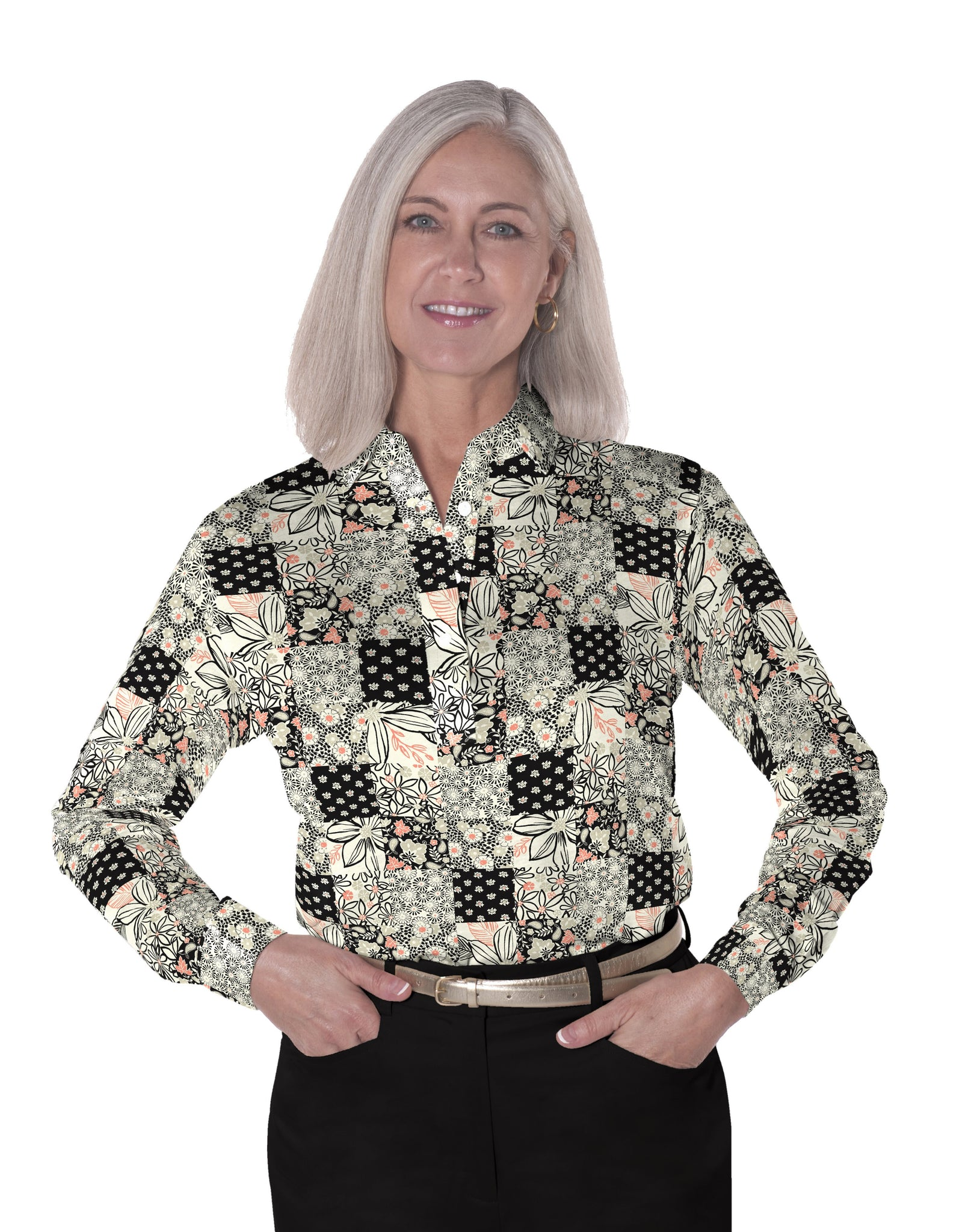 Ladies Long Sleeve Print Polo Shirts Patchmaker 01L - Leonlevin