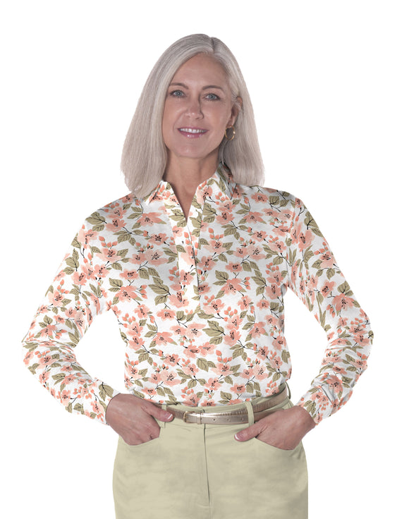 Ladies Long Sleeve Print Polo Shirts One Fine Day 01N