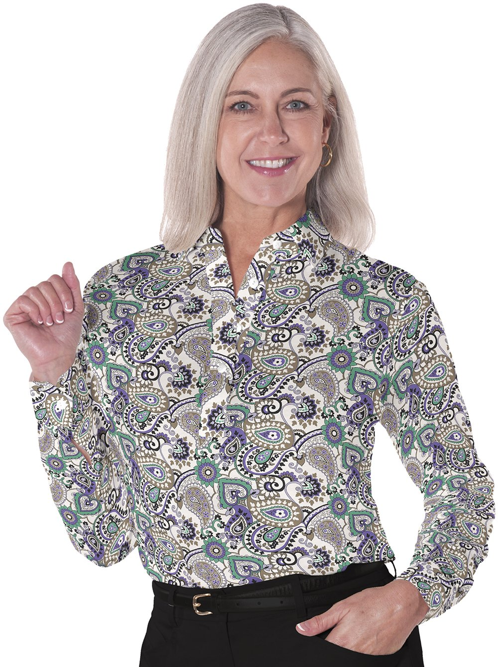 Ladies Long Sleeve Print Polo Shirts Winding Road 02C - Leonlevin
