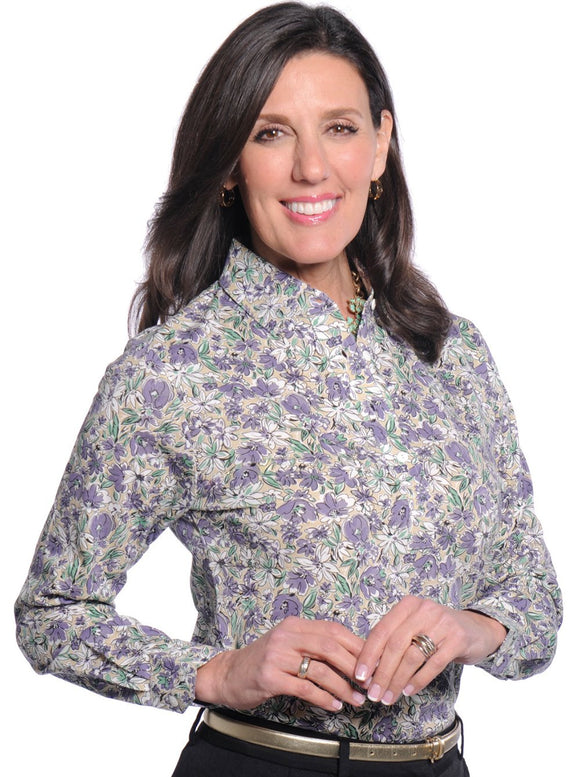 Ladies Long Sleeve Print Polo Shirts</br>Fancy This 02G