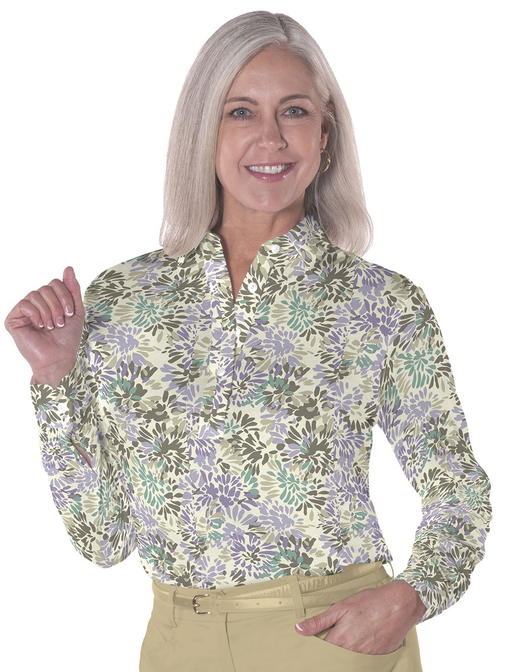 Ladies Long Sleeve Print Polo Shirts Splish Splash 02H - Leonlevin