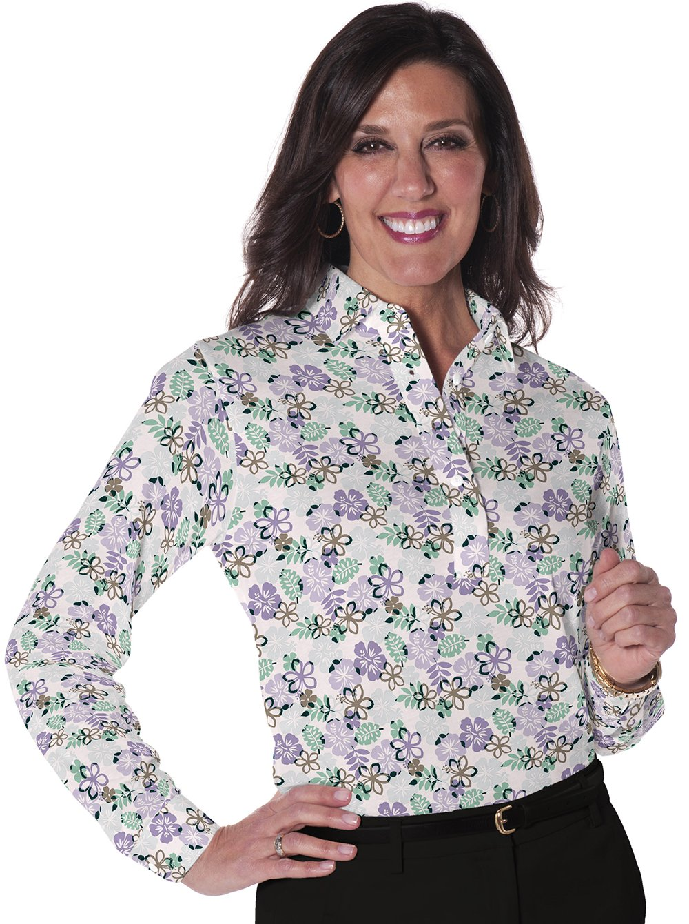 Ladies Long Sleeve Print Polo ShirtsA Place in the Sun 02L - Leonlevin