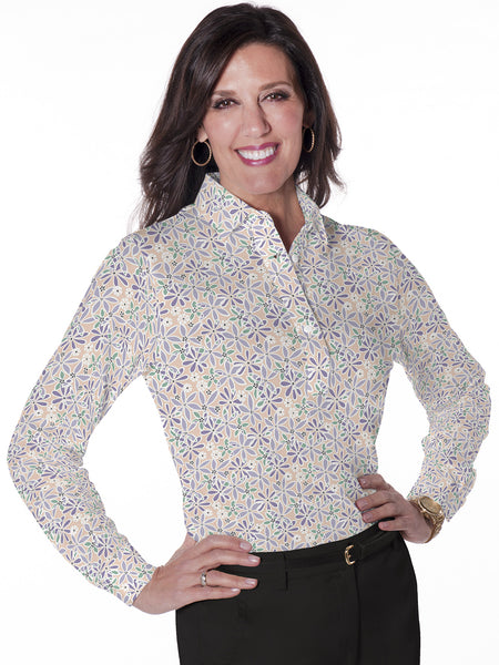 Ladies Long Sleeve Print Polo Shirt Sweet Serenade 02M - Leonlevin