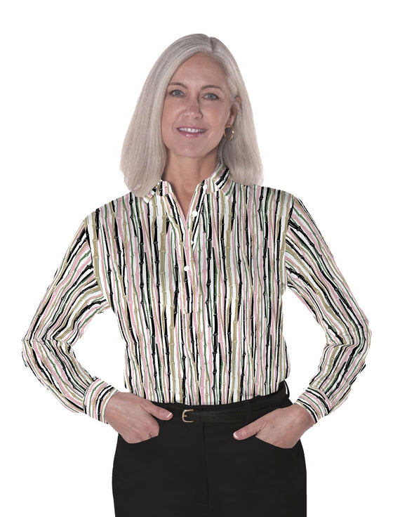 Ladies Long Sleeve Print Polo Shirts Bamboo You 03A