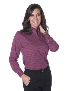 Ladies Long Sleeve Print Polo Shirt Illusionist 03H - Leonlevin