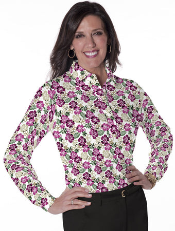 Ladies Long Sleeve Print Polo Shirts A Place in the Sun 03K