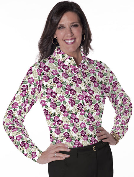 Petite Long Sleeve Print Polo Shirts</br>A Place in the Sun 03K - Leonlevin