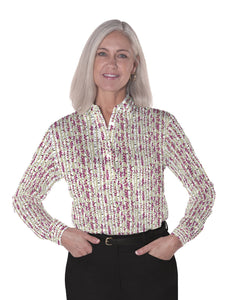 Ladies Long Sleeve Print Polo Shirt Into the Woods 03i - Leonlevin